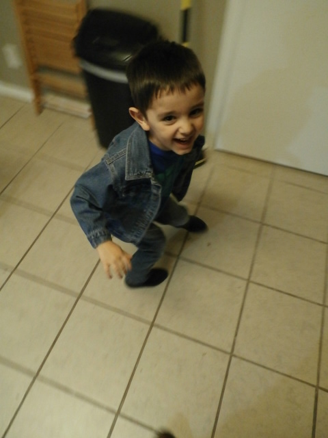 My oldest son's outfit while he tried to escape the camera ;)